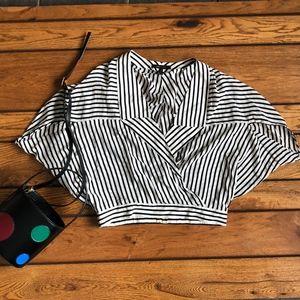 BCBGMaxAzria Striped Silk Dolman Sleeve Top, S